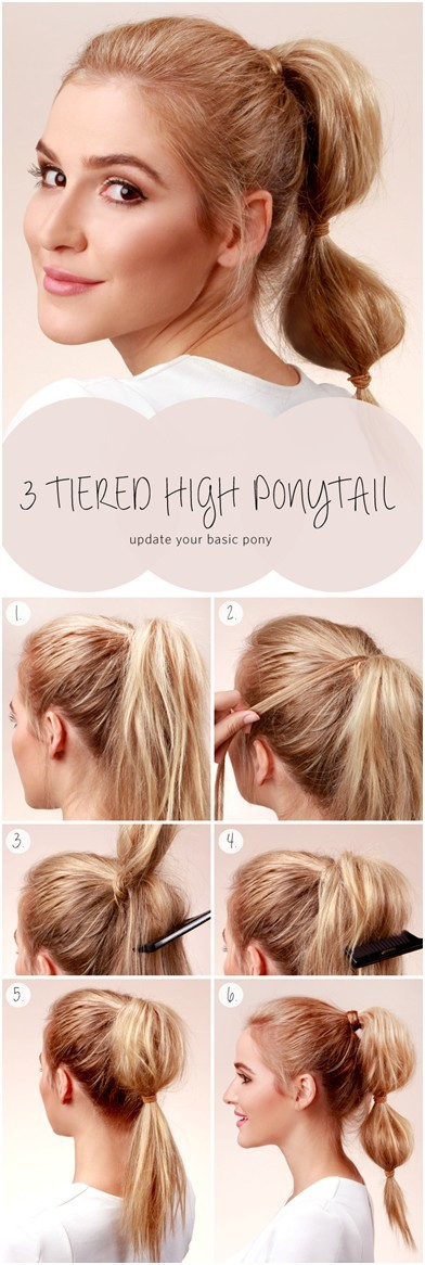 Wonderful Everyday Hairstyles For Long Hair: 3 Tiered High Ponytail  Tutorial. 3 Tiered High Ponytail Tutorial
