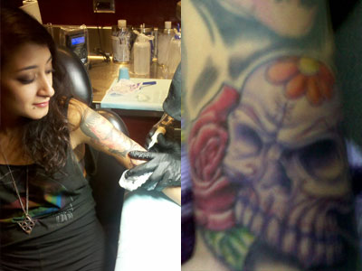 Alexia Rodriguez skull tattoo