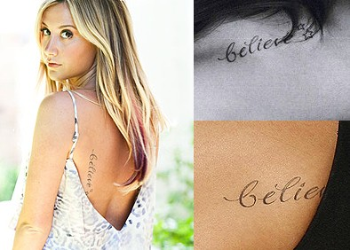 Ashley Tisdale tattoos - back
