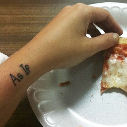 Bethany Cosentino tattoos – 'As If' word tattoo on wrist