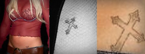 Britney Spears cross tattoos