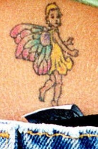 Britney Spears lower back tattoos - little fairy tattoo