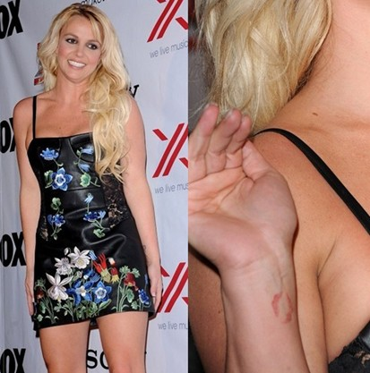 Britney Spears tattoos – lipstick kiss on wrist