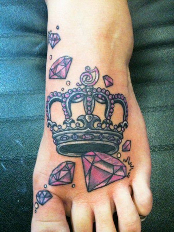 Cute Crown Diamond Foot Tattoo