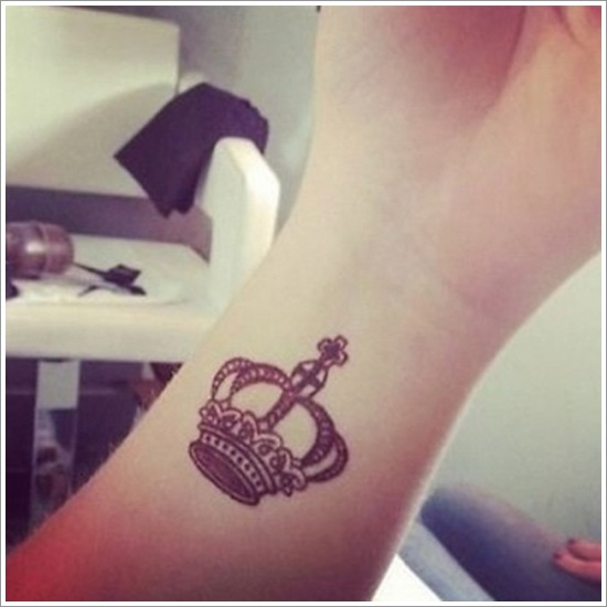 Cute Small Crown Tattoo Design for Girls