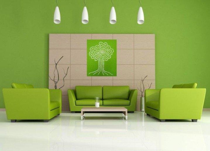 Green Walls And Sofa