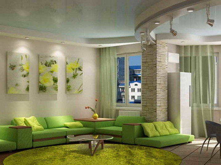 Green Wall Art home decorating: green walls of living room - pretty designs