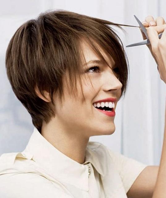 Long Pixie Cut for Brown Hair