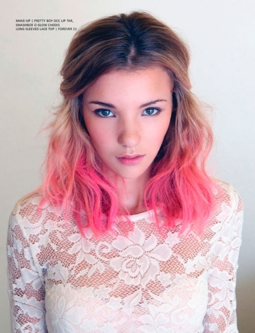 Medium Brown to Pink Ombre Hair