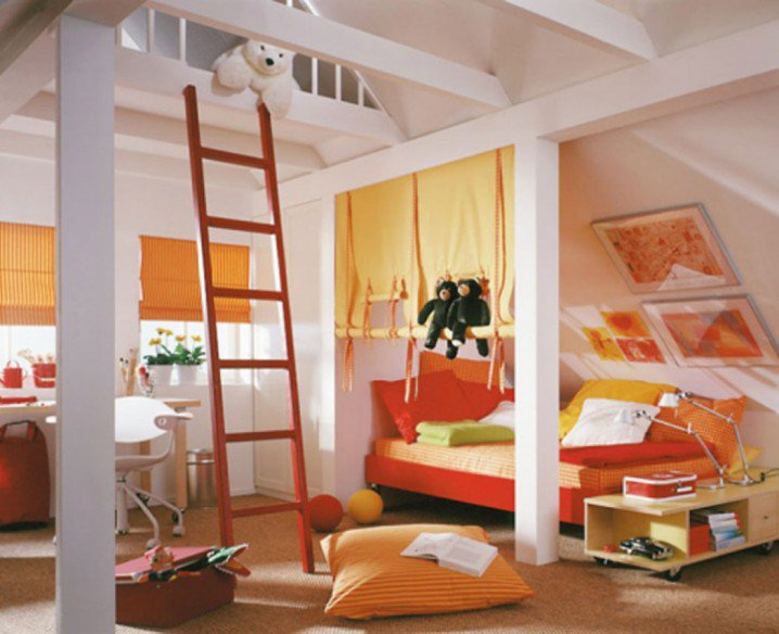 Orange Attic Bedroom Design