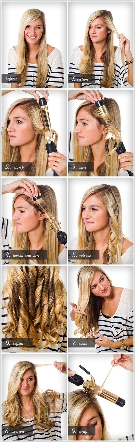 Easiest way to curl your own hair with a curling iron
