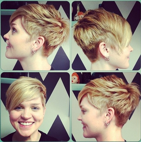 Short layered pixie cut with long bangs