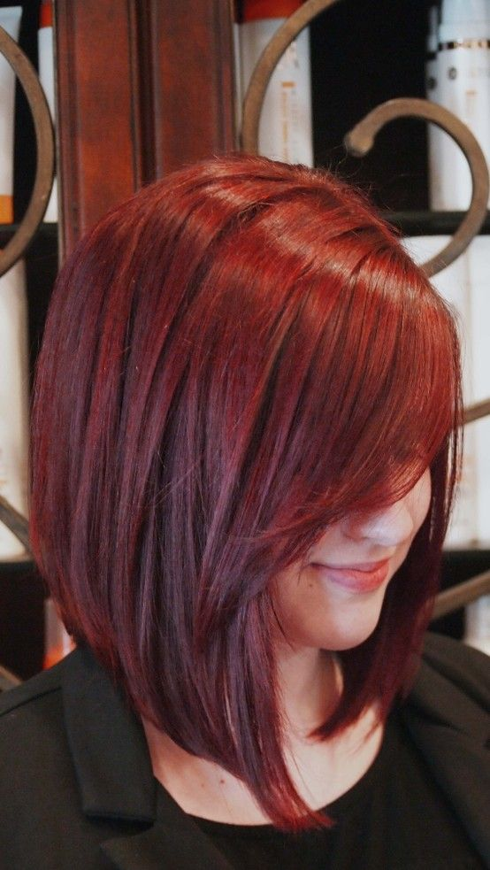 Sleek Red Bob