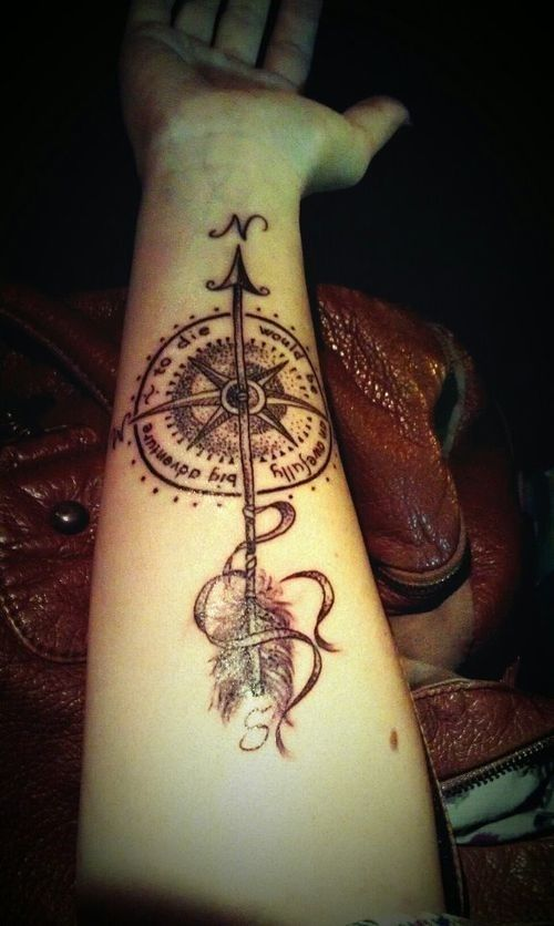 Anchor and Compass Tattoo