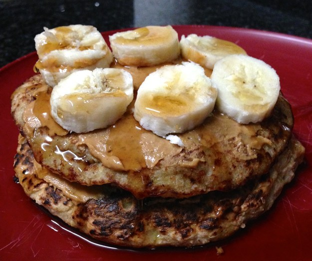 Banana Oat Pancakes with Peanut Butter