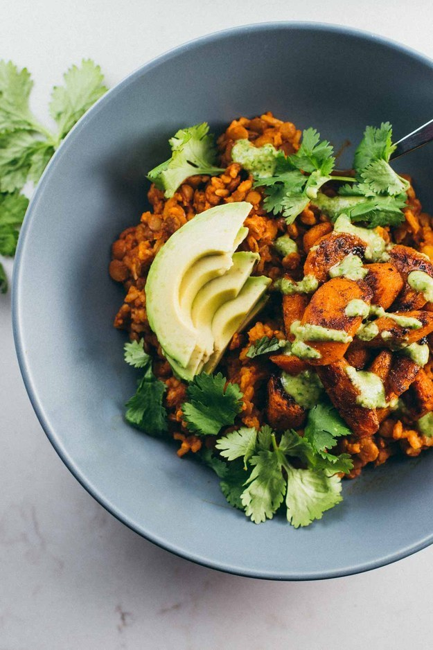 Bowls with Cilantro Cashew Sauce