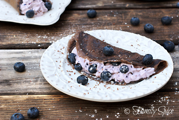 Chocolate Crepe with Blueberry Cream