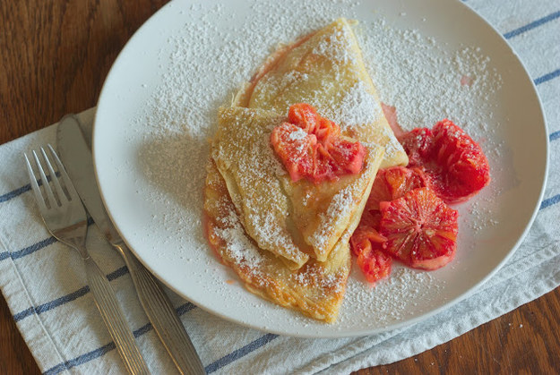 Crepe with Blood Orange Compote