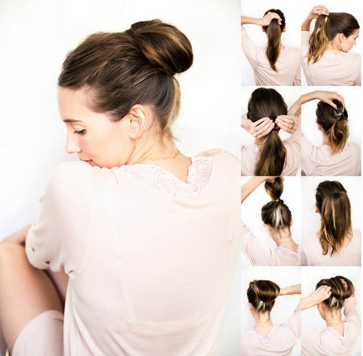 Easy bun hairstyle tutorials for the summers: top 10! Heart bows.