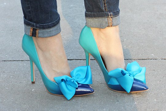 Ombre Heels with Blue Bows