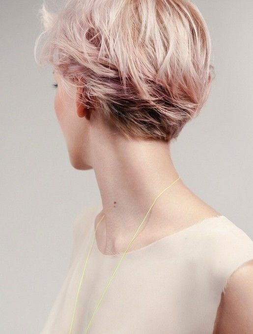 Pink Colored Short Hairdo