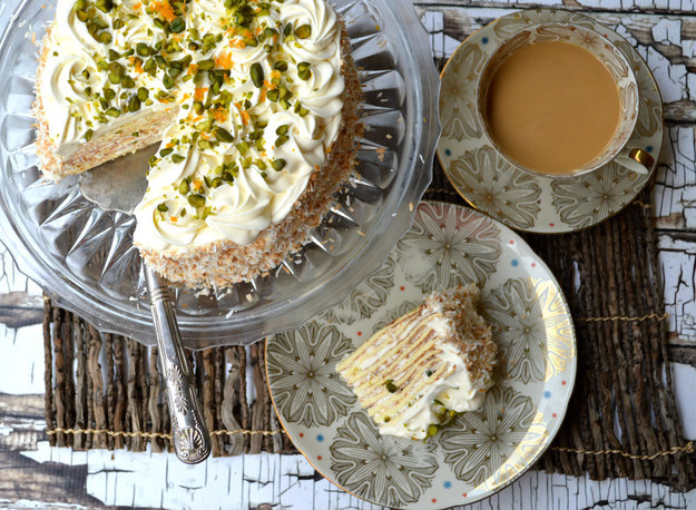 Pistachio and Coconut Crêpe Cake