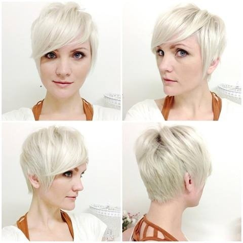 Pixie Haircut with Side Bangs for Blond Hair