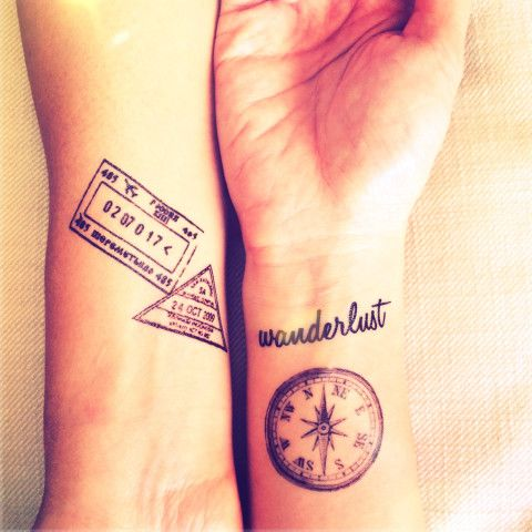 Stamp and Compass Tattoo