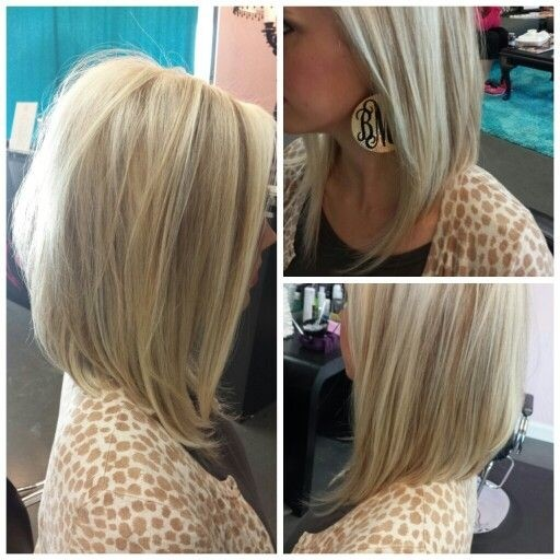 Angled Bob Haircut for Blond Hair