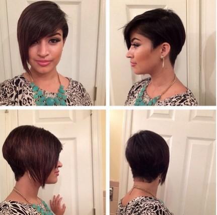 Asymmetric Short Haircut with Bangs