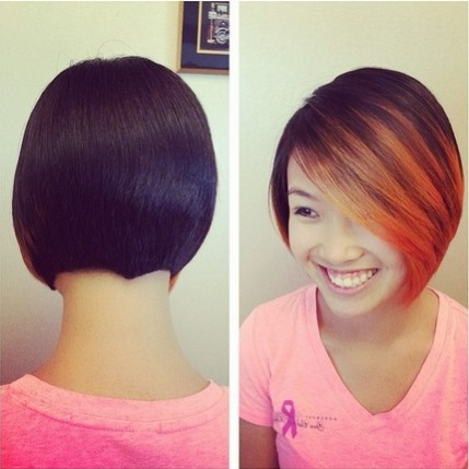 Bob Haircut with Bangs for Ombre Hair