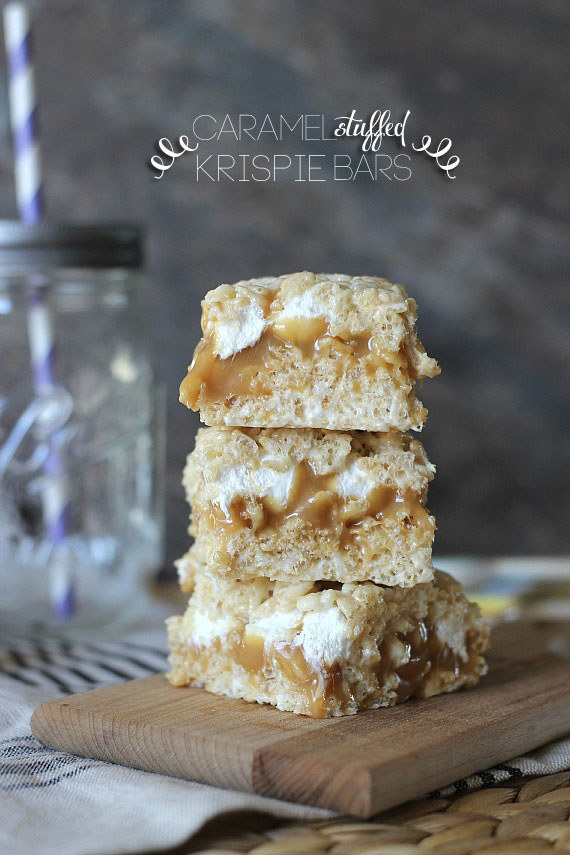 Caramel Stuffed Krispie Treats