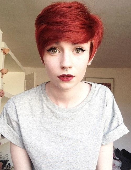 Red Pixie Haircut with Side Swept Bangs