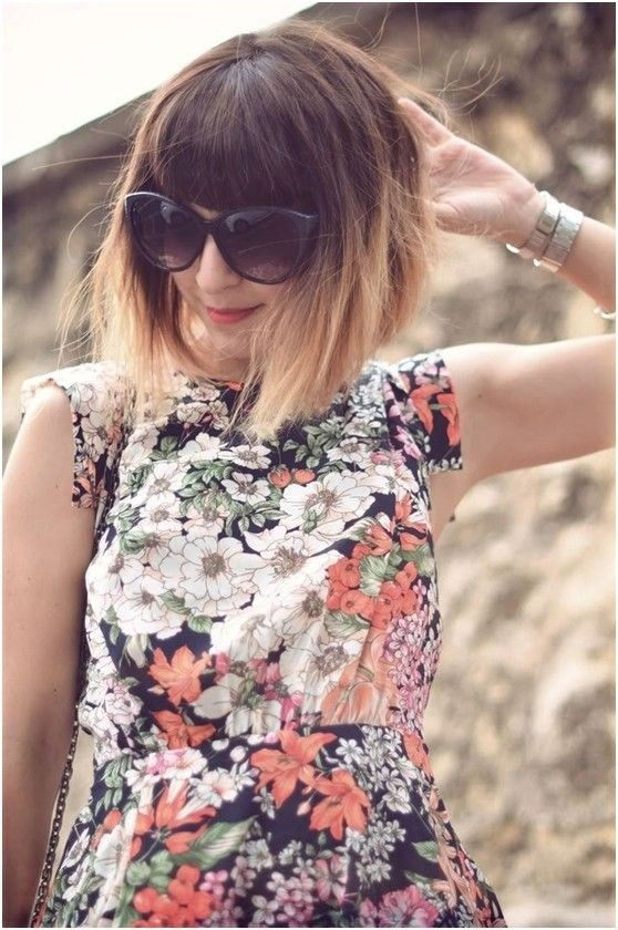 Cute Short Bob Hairstyle with Blunt Bangs