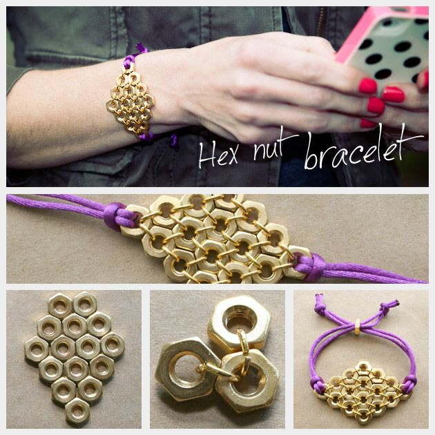 DIY Hex Nut Diamond Bracelet