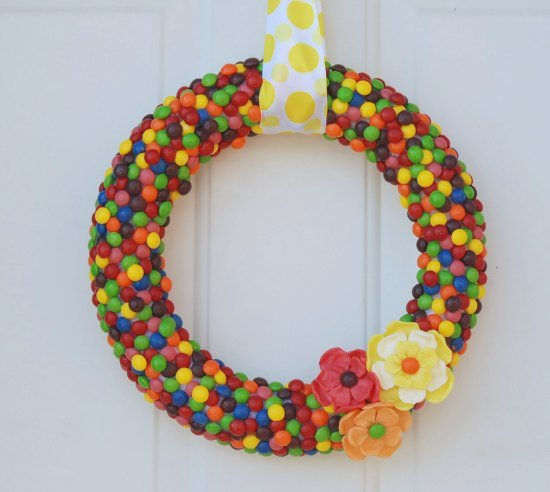 DIY Skittles Wreath