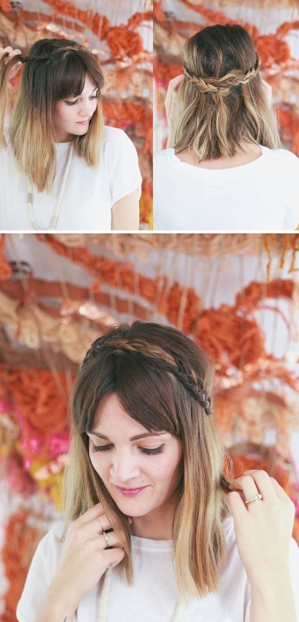 Half Up Braided Headband for Mid-length Hair