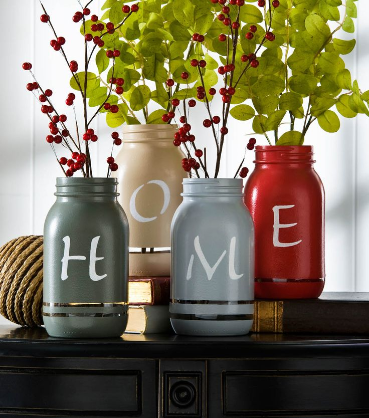 Home Painted Mason Jar