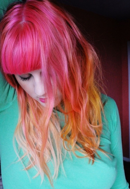 Long Hairstyle with Blunt Bangs for Neon Ombre Hair