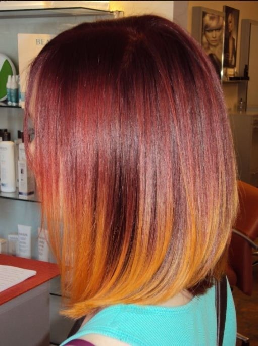 Long Straight Bob Haircut for Red Ombre Hair via