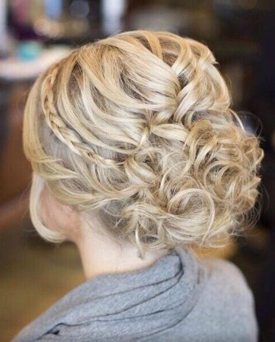 Messy Braided Updo Hairstyle for Blond Hair