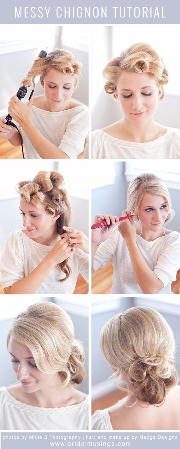Messy Low Chignon For Wedding Hairstyles