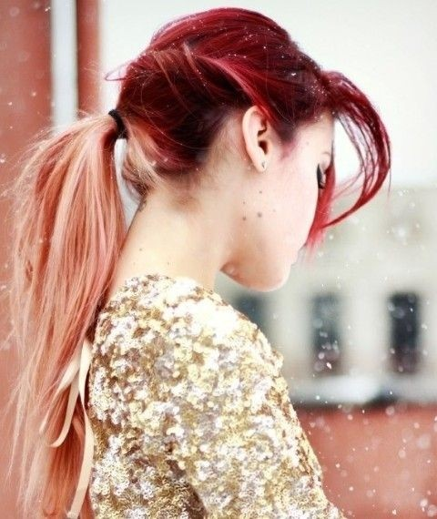 Messy Ponytail for Long Ombre Hair