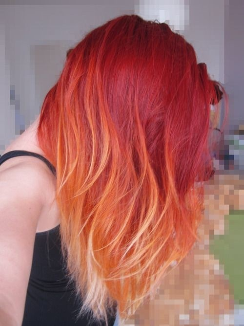 Mid-length Hairstyle for Red Ombre Hair