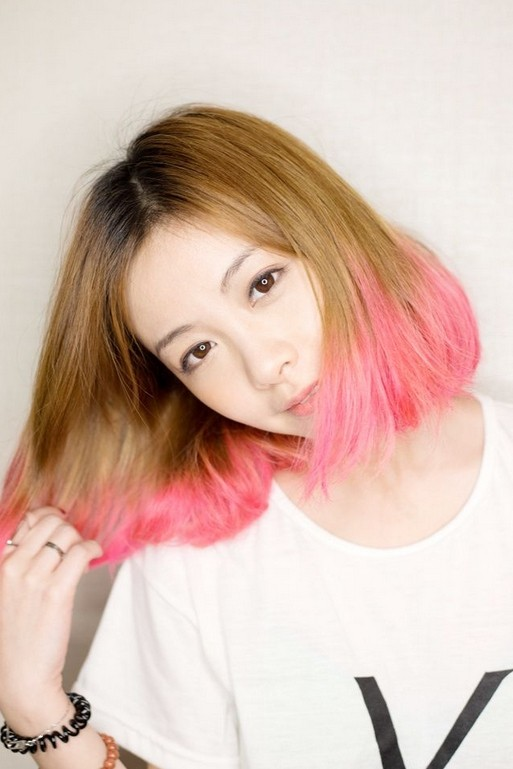 Pink Colored Bob Haircut for Asain Girls