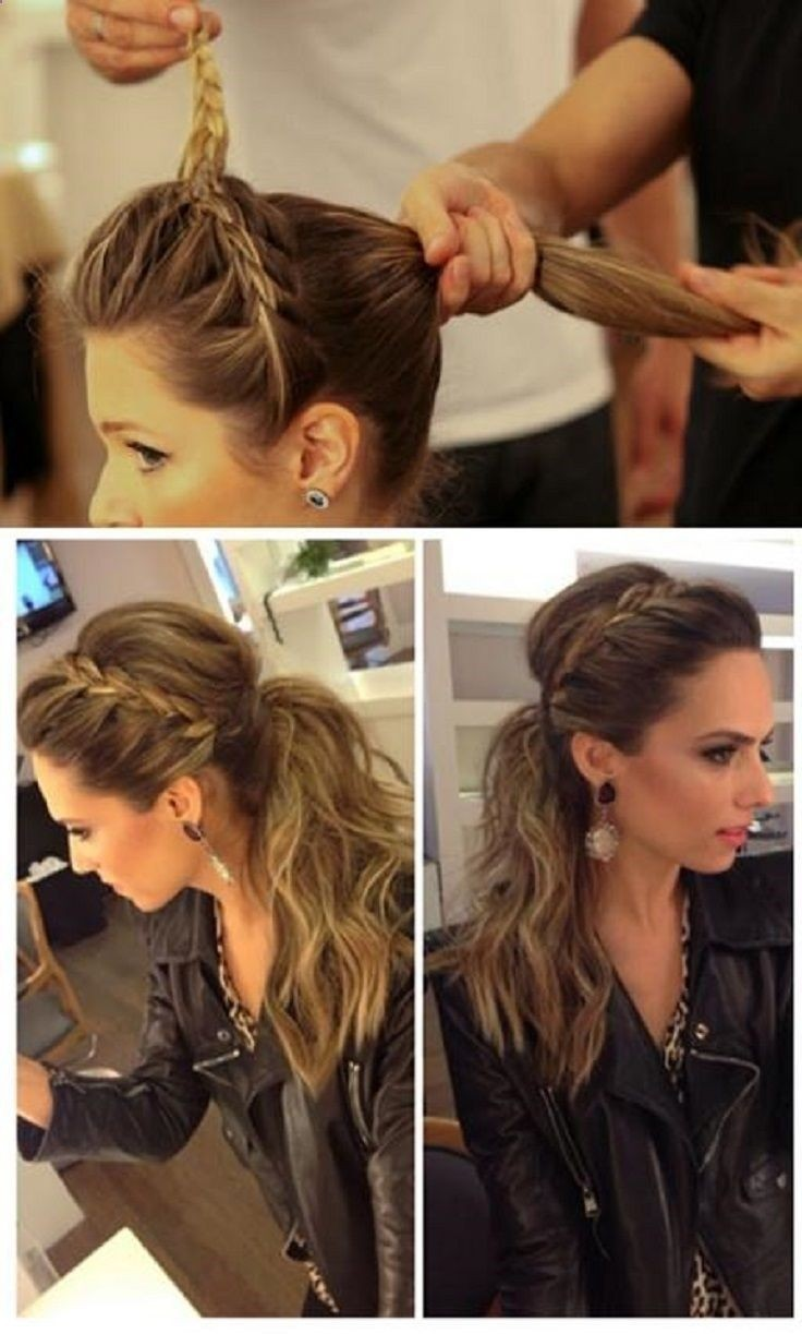 Ponytail Hairstyle with Braided Headband