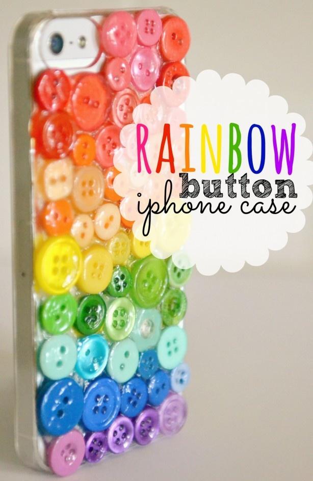 Rainbow Button Embellished Phone Case