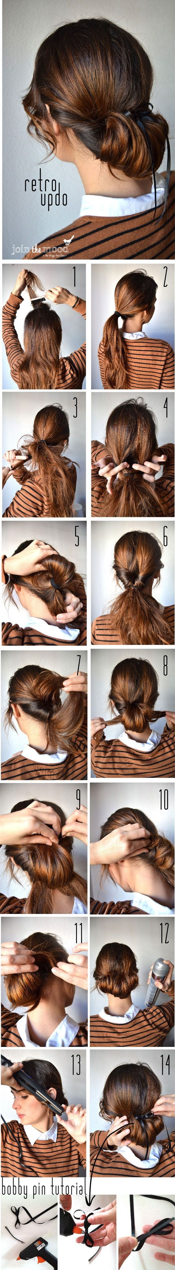 14 easy step by step updo hairstyles tutorials pretty designs retro updo tutorial baditri Image collections