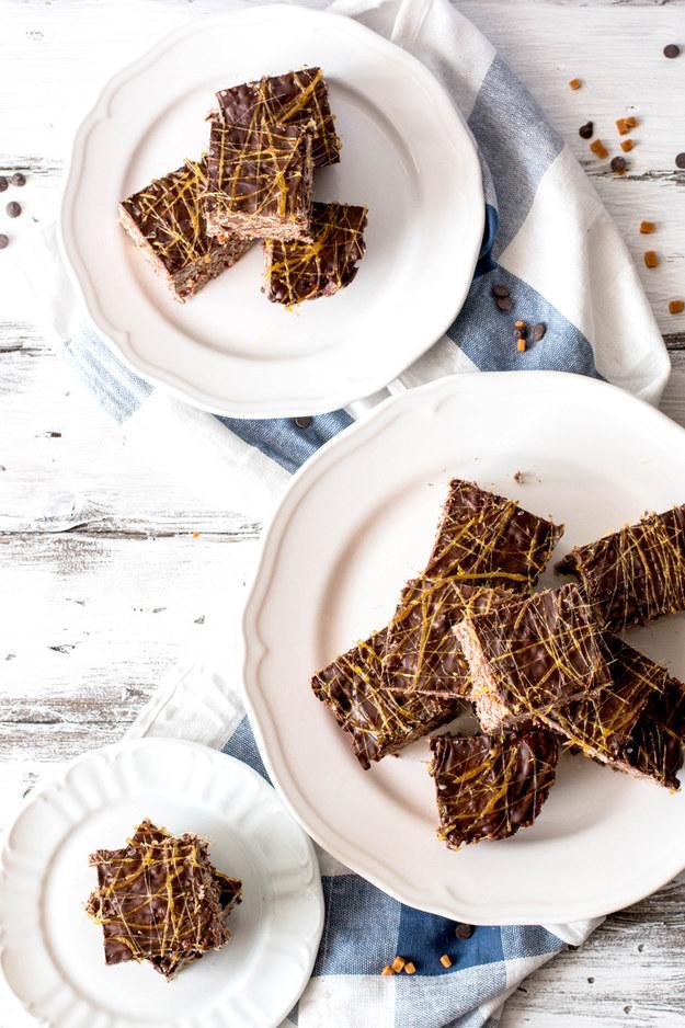Salted Dark Chocolate Caramel Rice Krispie Treats