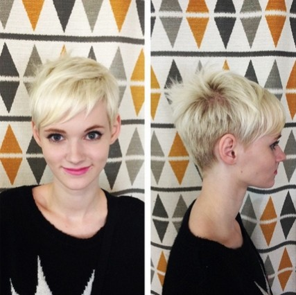 Short Blond Hairstyle with Bangs